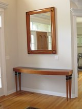 Custom Estate Cherry Wood Entry Table and Mirror Set in Elgin, Illinois