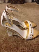 Brand new! Baby Phat White and Gold Wedges Size 6 1/2 in Las Vegas, Nevada