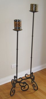 2 Tall Floor Candle Stands / Iron in Palatine, Illinois