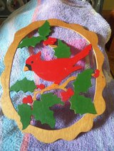 Wooden Cardinal Plaque in Spring, Texas