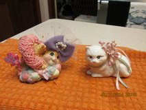2 Captivating Cat Figurines -- One Porcelain -- One Resin in Houston, Texas
